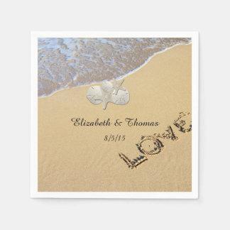 Beach Wedding, Sand Dollar, Starfish Napkins Paper Napkin