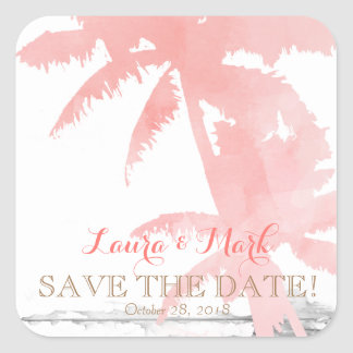 Beach Wedding Save the Date Coral Palm Trees Wood Square Sticker