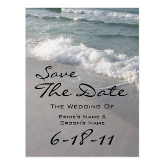 Beach Wedding Save The Date - Ocean Waves & Sand Postcard