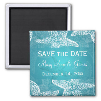 Beach Wedding Save The Date Starfish Blue Square Magnet