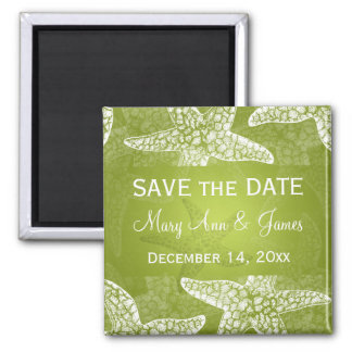 Beach Wedding Save The Date Starfish Lime Green Square Magnet
