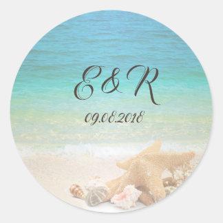 Beach  Wedding Seashells Classic Round Sticker