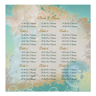 "Beach ""wedding seating chart"" elegant party poster"