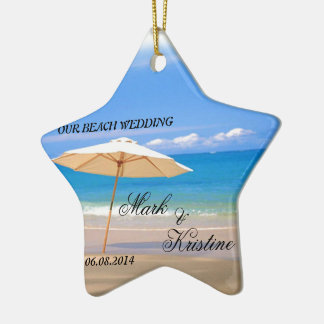 Beach Wedding Souvenirs and Giveaways Ceramic Ornament