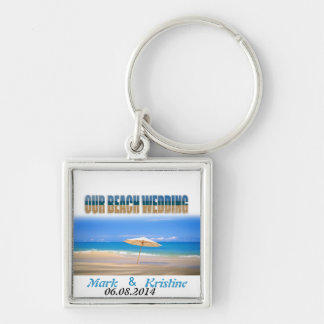 Beach Wedding Souvenirs and Giveaways Silver-Colored Square Key Ring