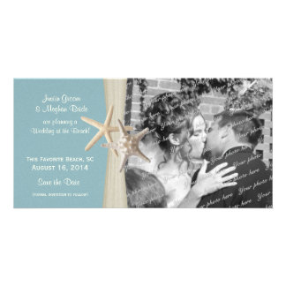 Beach Wedding Starfish Blue Save the Date Photo Customised Photo Card