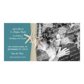 Beach Wedding Starfish Save the Date Photo Card