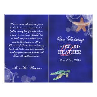 Beach wedding starfish turtle program custom flyer