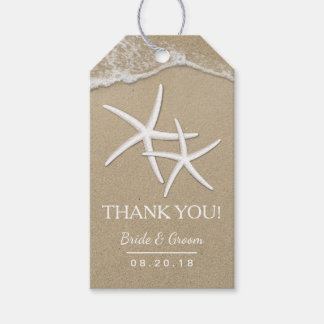 Beach Wedding Starfish & Waves Thank You Gift Tags