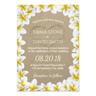 Beach Wedding Summer Flowers & Sand Heart 13 Cm X 18 Cm Invitation Card