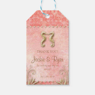 Beach Wedding Tag Seahorse Vintage Coral Gold