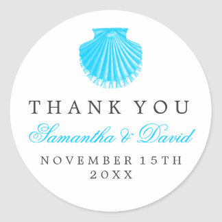 Beach Wedding Thank You Scallop Shell Turquoise Round Sticker