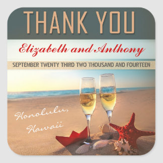 beach wedding thank you stickers