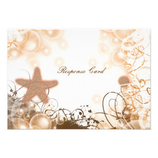 Beach wedding theme response rsvp card personalized invite