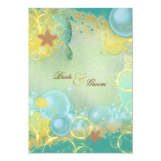 Beach wedding theme turtles starfish card