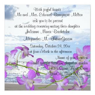 Beach Wedding Tropical Orchids 13 Cm X 13 Cm Square Invitation Card