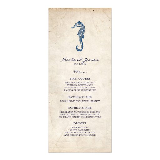 Beach Wedding Vintage Blue Seahorse Menu Personalized Invite