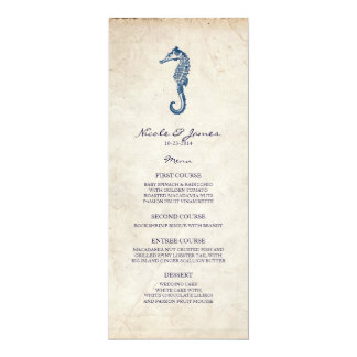 Beach Wedding Vintage Blue Seahorse Menu 10 Cm X 24 Cm Invitation Card