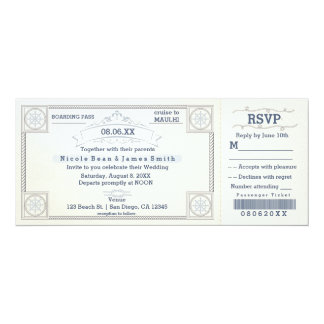 Beach Wedding Vintage Boarding Ticket Invitations