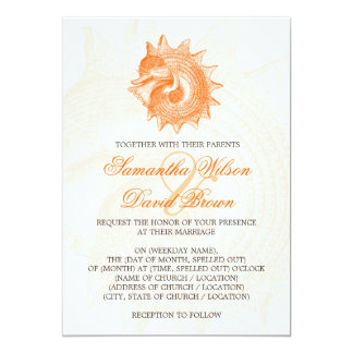 Beach Wedding Vintage Mollusk Shell Orange 13 Cm X 18 Cm Invitation Card