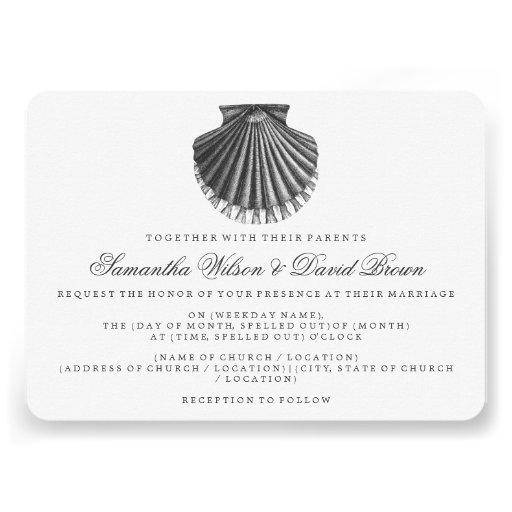 Beach Wedding Vintage Scallop Shell Black Custom Invites