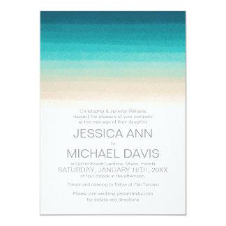 Beach Wedding Watercolor Ombre Modern Card