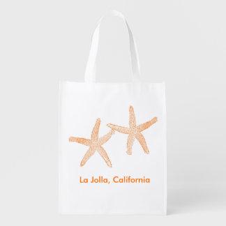 Beach Wedding Welcome Bag (Orange Starfish) Grocery Bags