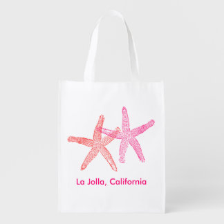 Beach Wedding Welcome Bag (Pink & Red) Grocery Bag