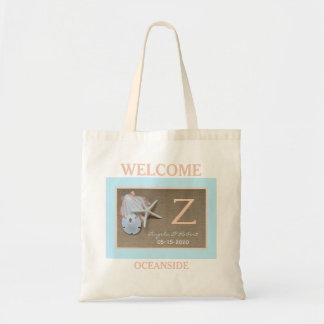 Beach Wedding Welcome Bags with Monogram Budget Tote Bag