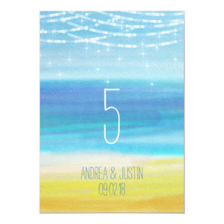 Beach wedding with lights table number card