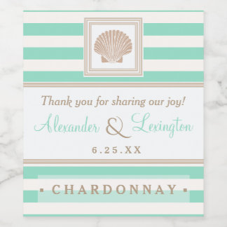 Beach Wedding With Seashell Stripes Choose Colors Wine Label