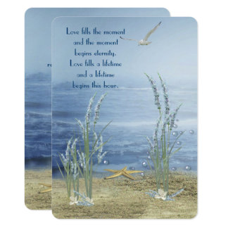 beach wedding with starfish and seagull card