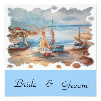 beach weddings 13 cm x 13 cm square invitation card