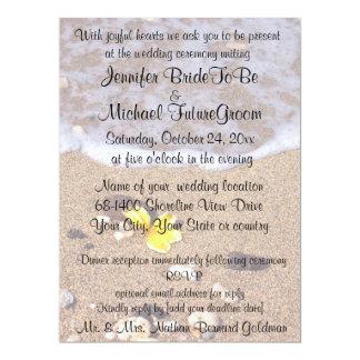 Beach Weddings Yellow Plumeria with RSVP 17 Cm X 22 Cm Invitation Card