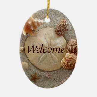 BEACH Welcome Sign Ceramic Ornament