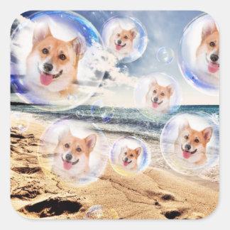 Beach Welsh Corgis Square Sticker