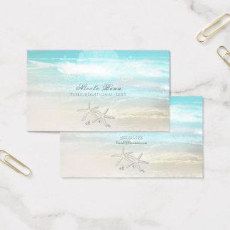 Beach White Starfish Elegant Summer Chic Tropical Business Card