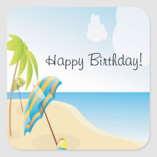 Beach Wishes Square Sticker