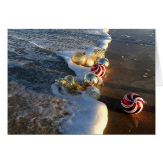 Beach with Christmas Ornaments Card