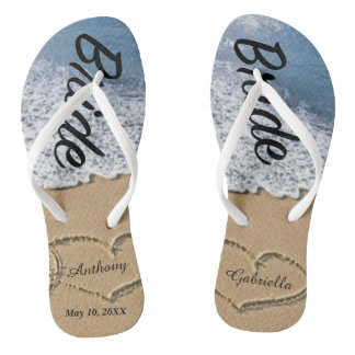 Beach With Hearts In Sand Bride Wedding Flip Flops