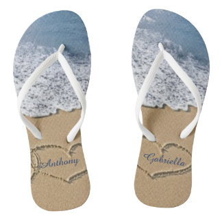 Beach With Hearts In Sand Personalized Flip Flops