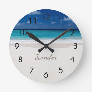 Beach with Name Round Clock