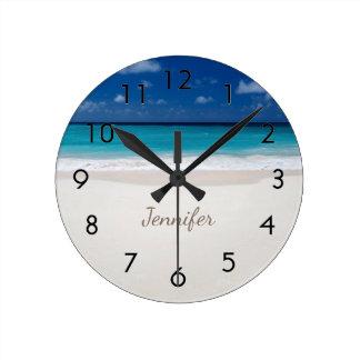 Beach with Name Round Clock