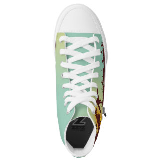 beach with palm surfer in Hawaii Printed Shoes