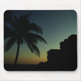 Beach with palm tree and hotel mouse mat