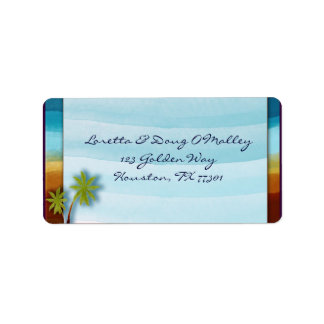 Beach with Palm Tree designer label Address Label