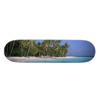 Beach with palm trees, Maldives 20 Cm Skateboard Deck