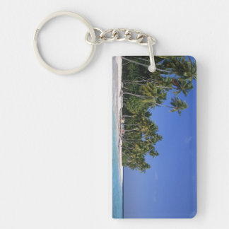 Beach with palm trees, Maldives Double-Sided Rectangular Acrylic Key Ring
