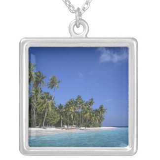 Beach with palm trees, Maldives Square Pendant Necklace
