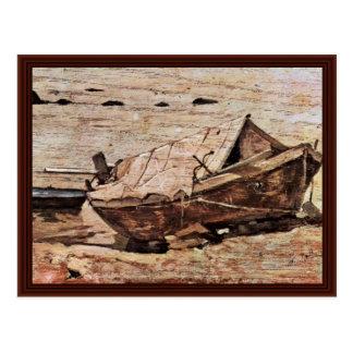 Beach With Small Boat By Fattori Giovanni Postcard